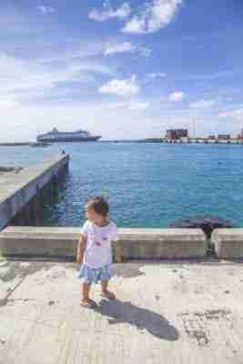 Toddler Walking Along Rarotonga Port