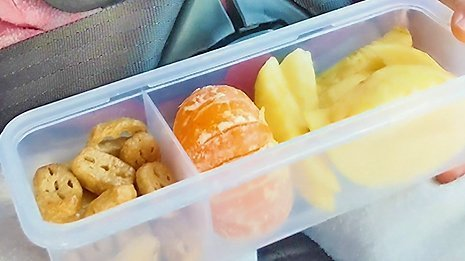 Snack box for toddler kids fruits road trip
